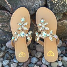 Sparkly Sandals Flat sandal with jewel embellishments. So pretty! New, never worn, box included. These shoes run true to size and are super comfortable. Same or next day shipping.  Madeline Shoes Sandals
