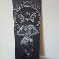 More progress. Still working on the under painting. #wip #figureart #acrylic #painting #greyscale #visionaryart #johngayart #aztec #goddess #headdresses