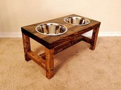 Dog Bowl Feeder Large Dog Feeder Farmhouse by TheBarnwoodBarge Large Dog Bowls, Large Dogs, Elevated Dog Feeder, Stainless Steel Dog Bowls, Raised Dog Bowls, Dog Bowl Stand, Pet Food Storage, Estilo Shabby Chic, Wood Dog