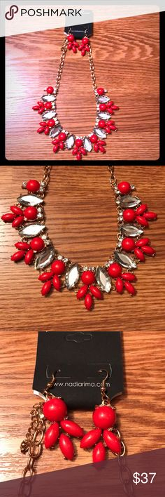 Boutique Statement Necklace Set This Nadia Rima Statement Necklace with matching earrings is a brand new boutique item. The red and silver stones shine off of the gold toned chain. The measurements are included for size, but the chain is adjustable to different lengths. Perfect gift this holiday season! Ships same or next day from a smoke free home! Nadia Rima Jewelry Necklaces