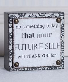 Another great find on #zulily! Gray & Black 'Future Self' Brick Décor by Adams & Co. #zulilyfinds