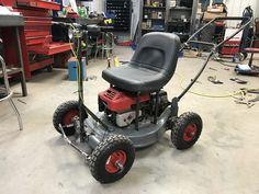 Didn't like the you tube video on building one, so just built it - Lawn Mower Mini Kart, Brushless Motor Controller, Go Kart Plans, Diy Go Kart, Mini Chopper, Zero Turn Mowers, Drift Trike, Lawn Equipment, Riding Lawn Mowers