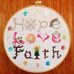 Hope Love Faith Hoop by BijouxDeBeauJardin on Etsy