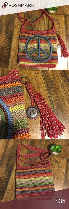 """The Sak Peace Sign Crossbody Brand new without tags   Bag is in perfect condition  and super cute   W 11"""" X H 9"""" X 3""""   The Sak Bags Crossbody Bags"""