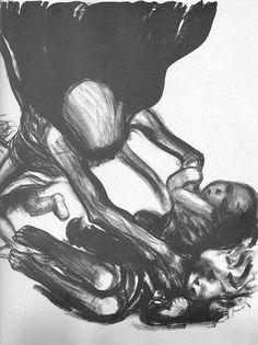 Tod greift in Kinderschar, 1934.Käthe Kollwitz (geb. Schmidt; * 8. Juli 1867 in Königsberg in Preußen; † 22. April 1945 in Moritzburg bei Dresden) war eine deutsche Grafikerin, Malerin und Bildhauerin und zählt zu den bekanntesten deutschen Künstlerinnen des 20. Jahrhunderts. Mit ihren oft ernsten, teilweise erschreckend realistischen Lithografien, Radierungen, Kupferstichen, Holzschnitten und Plastiken, die auf persönlichen Lebensumständen und Erfahrungen basieren, entwickelte sie einen ...