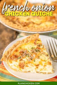 French Onion Chicken Quiche - seriously delicious! Chicken, french onion dip, cheddar cheese, french fried onions, eggs, and heavy cream. Can make ahead and freeze for later! Everyone LOVES the flavors in this yummy quiche!! I usually double the recipe and still don't have any leftovers! Just add a salad and dinner is done! #chicken #casserole #quiche #brunch #freezermeal