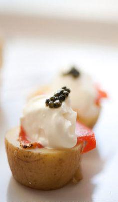 potato, caviar salmon hors de ouvres