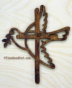 Dove Cross, New Baltic Birch Wood Cross, for Wall Hanging or Ornament, Item S3-4