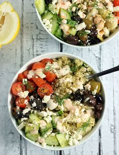 Loaded Greek-Style Quinoa Bowls w/ Chunky Feta & Spicy Tzatziki - SO delicious and perfectly #healthy for the near year :)