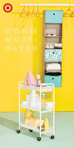 Running out of room for stuff in your dorm? The Room Essentials® 6-Shelf Hanging Organizer can help you save your floor space for important things. Like dance parties.