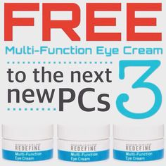 FREE Rodan +Fields $60 Value Eye Cream lasts 4 months and is FREE to next 3 Preferred Customers who enroll with a regimen!   http://www.cremler.myrandf.com