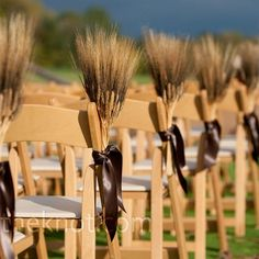The ceremony was set up with rows of wooden folding chairs. Tightly packed bundles of dried wheat tied with brown ribbon marked the aisle ends and dried leaves defined the aisle.