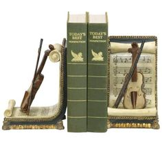 Set of 2 Ivory and Gold Violin and Music Bookends | 55DowningStreet.com