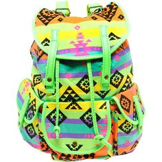 Boohoo Lydia Neon Trim Aztec Bag (£24) ❤ liked on Polyvore featuring bags, backpacks, accessories, rucksack bags, aztec bag, day pack backpack, aztec pattern backpack and neon backpacks