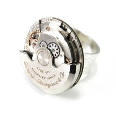 Clockwork Ring - Kinetic Cocktail Ring - Autowind Etched Silver from Compass Rose Design Jewelry www.compassrosedesignjewelry.com