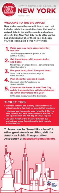 "NYC! If you are going to New York City, part of the fun is riding transit. Check out these ""Travel Like A Local"" tips. Can we add, make sure to see the transit museum?"