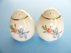 Hall China Salt & Pepper Shakers Vintage Gold by bluemoonattic, $24.00