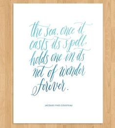 Sea Quote Calligraphy Art Print by Mint Afternoon on Scoutmob Shoppe