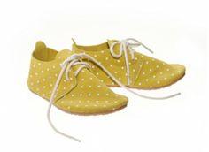 Yellow + White Polka Dot Oxfords