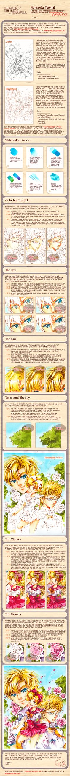 Learn Manga: Watercolor Tutorial complete by *Naschi on deviantART