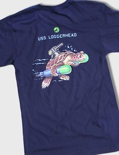 The USS Loggerhead Tee. This custom illustration was pulled straight from the hull of a WWII submarine.    100% American-grown Combed Cotton. Made in America.    10% of all sales donated to sea turtle conservation efforts.    $30.00