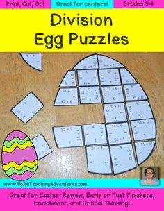 The Easter Math Centers Division Egg Puzzles make it quick and easy for teachers to provide hands on activities that meet the needs of all students! These three puzzles are engaging and fun!