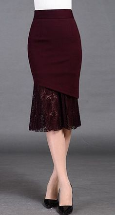 Burgundy Mermaid Midi Skirt