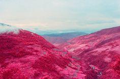 #Photo infrarouge d'un paysage du Népal #landscape #pink #blue