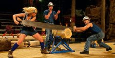 Head down to The #LumberjackFeud and watch the lumberjacks and lumberjills compete against each other in a saw-off competition! #SmokyMountains