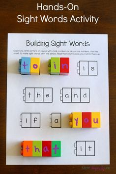 Word Recognition For this activity the students will build sight words using blocks. On a piece of paper, there will be different sight words. The students will connect the blocks with the correct letters to make the different sight words. Teaching Sight Words, Sight Word Practice, Sight Word Games, Sight Word Activities, Hands On Activities, Literacy Centers, Teaching Resources, Fry Sight Words, Speech Therapy