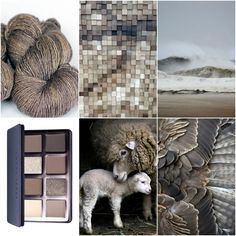 TFA Red Label Cashmere/Silk Singles in Stone, wood, beach, eye shadow palette, sheep, feathers.