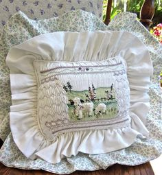 Art Pillow Hand Embroidered & Hand Smocked by rabbitwhiskers, $200.00