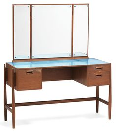 Anonymous; Teak, Glass and Formica Dressing Table by Niels Vodder, 1950s.