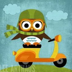 Why, yes, that IS an owl on a vespa.