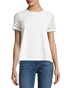 Tory Burch Hermosa Cotton Eyelet T-Shirt, White Eyelet Top, Summer Looks, Tory Burch, Short Sleeves, Pullover, How To Wear, Cotton, T Shirt, Clothes