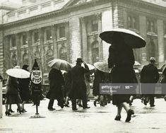 Stock Photo : Pedestrians walking in rain in New York City, (B&W) Rainy Weather, Bus Stop, Pedestrian, City Streets, Look Cool, Old Town, Street Photography, New York City, Walking