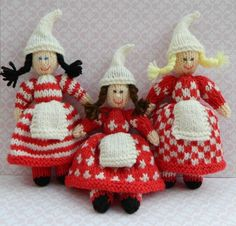 Toy Knitting Pattern - Julenissen Christmas Elves Dolls - PDF E-mail £2.50 http://folksy.com/items/3703674-Toy-Knitting-Pattern-Julenissen-Christmas-Elves-Dolls-PDF-E-mail