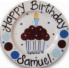 personalized ceramic bday plates