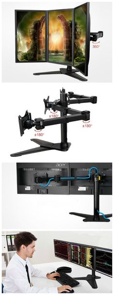 The LOCTEK 3-LCD Monitor Stand has a highly flexible triple-arm design to position your displays perfectly while taking up minimal desktop footprint.