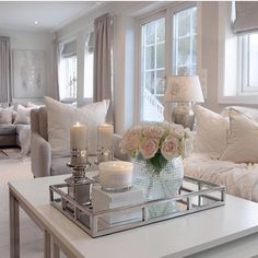 Sort of boutique style room, gorgeous!- Sort of boutique style room, gorgeous! Sort of boutique style room, gorgeous! Table Decor Living Room, Glam Living Room, Elegant Living Room, Interior Design Living Room, Home And Living, Living Room Designs, Romantic Living Room, Interior Decorating, Decorating Tips