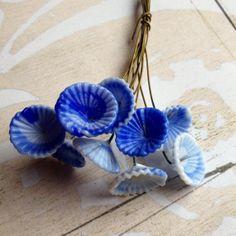 10 Vintage Wired Glass Cobalt Blue Flowers. Cobalt top 10 Etsy love list!