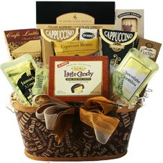 Art of Appreciation Crazy for Coffee Gourmet Food Gift Basket http://www.amazon.com/Art-Appreciation-Coffee-Gourmet-Gift/dp/B003Q4U02U/