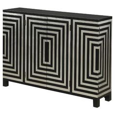 Black and Silver Optical Motif Pattern Credenza