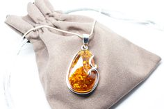 Beautiful Baltic Amber Pendant, amber pendant necklace, Cognac amber jewellery, amber jewelry, handmade amber necklace, large amber, pendant by BalticBeauty925 on Etsy