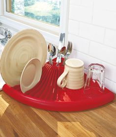 the Space Saver Corner Dish Dryer makes the most of tight spaces. If counter space is at a premium, this dish dryer is a must. It combines a dish rack, a drainer and a utensil basket in a sleek, modern design. Snaps apart for easy cleaning.