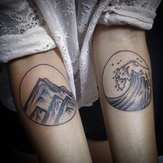Minimal tattoos by andrei nikolnik #MinimalTattoosOnArms, #MountainTattoo, #WaveTattoo