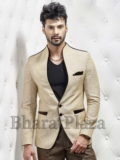 Two Button Blazer and two contrast buttons will give yourself charming look.  Item code: TSJY1305L http://www.bharatplaza.com/new-arrivals/mens-blazer.html