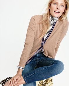 J.Crew women's classic V-neck tipped cardigan, tissue turtleneck in stripe and toothpick jean in Ashford wash.
