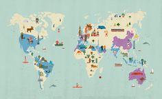 Carte illustrée monde