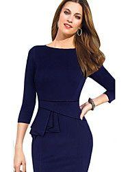 robe vintage des femmes, mélanges de coton genou manches ¾